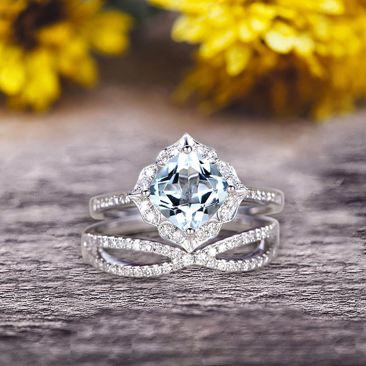 10k White Gold 1.75 Carat Cushion Cut Aquamarine Engagement Rings With Twisted Wedding Band Diamonds Halo Design Art Deco
