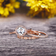 10k Rose Gold 1.75 Carat Round Cut Aquamarine Engagement Rings With Two Matching Wedding Band Diamonds Halo Design Art Deco
