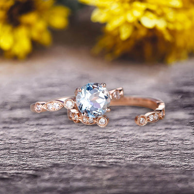 Vintage Looking 10k Rose Gold 1.50 Carat Round Cut Natural Aquamarine Engagement Rings With Unique Matching Wedding Band Art Deco