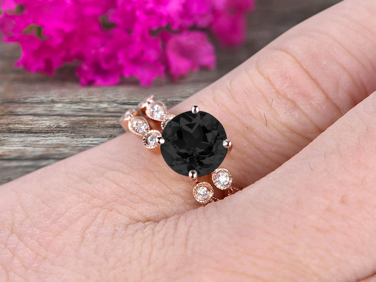 Vintage Looking 10k Rose Gold 1.50 Carat Round Cut Natural Black Diamond Moissanite Engagement Rings With Unique Matching Wedding Band Art Deco
