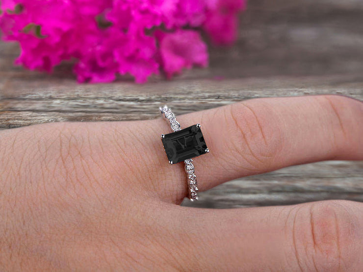 Art Deco 10k White Gold 1.25 Carat Emerald Cut Natural Black Diamond Moissanite Engagement Ring Anniversary Gift
