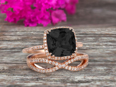 Halo 2 Pcs 10k Rose Gold 1.75 Carat Cushion Cut Black Diamond Moissanite Engagement Ring Set Custom Made Flaming Jewelry Twisted Across Matching Band Art Deco Anniversary Ring