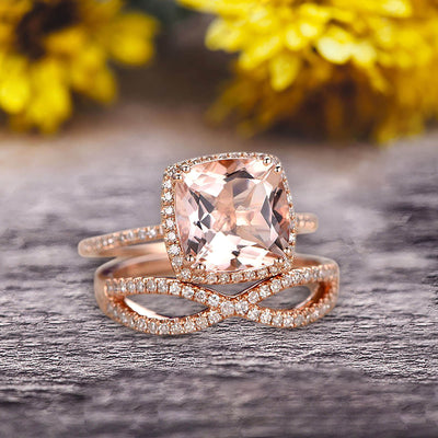 Halo 2 Pcs 10k Rose Gold 1.75 Carat Cushion Cut Morganite Engagement Ring Set Custom Made Flaming Jewelry Twisted Across Matching Band Art Deco Anniversary Ring