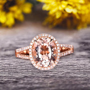 Oval Cut 10k Rose Gold Morganite Halo Engagement Ring With 1.5 Carat Split Shank