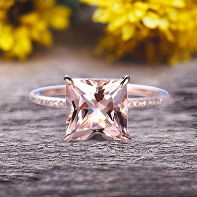 Art Deco 1.25 Carat Morganite Pricess Cut Engagement Ring Wedding Ring On 10k Rose Gold