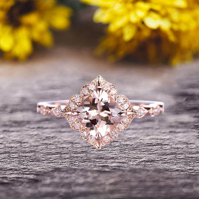 10k Rose Gold Morganite Halo Engagement Ring With Cushion Cut 1.50 Carat Milgrain Art Deco