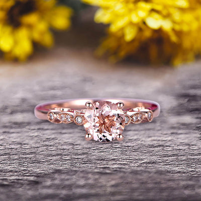 1.25 Carat Round Cut Brilliant Pink Morganite Engagement Ring On 10k Rose Gold Stunning Milgrain