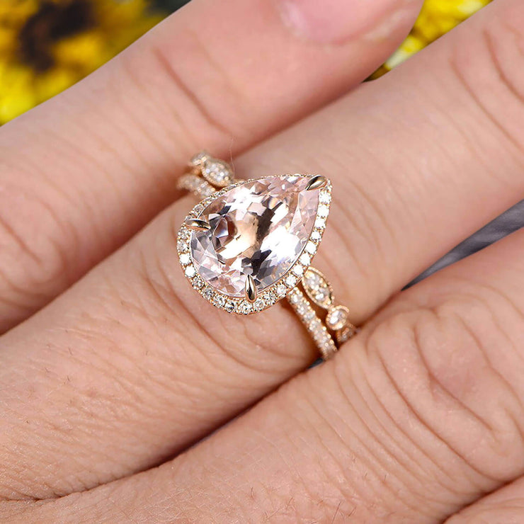 2Pcs Milgrain Pear Shape 1.75 Carat Wedding Ring Set Morganite Engagement Ring Diamond Matching Band 10k Yellow Gold Anniversary Gift