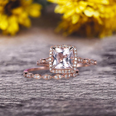 Princess Cut 1.75 Carat Morganite Engagement Ring Set On 10k Rose Gold Diamond Matching Band Promise Ring Milgrain Anniversary Gift Bridal Ring