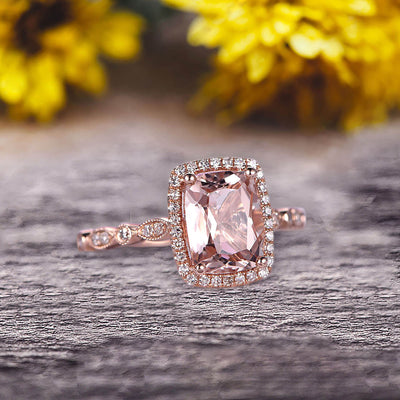 Milgrain Art Deco 1.50 Carat Cushion Cut Morganite Engagement Ring With 10k Rose Gold Shining Sparkling Halo