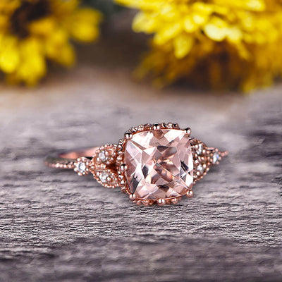 Milgrain Edge Cushion Cut 1.50 Carat Morganite Engagement Ring On 10k Rose Gold Anniversary Ring Promise Ring Art deco Surprisingly Ring Gift for her
