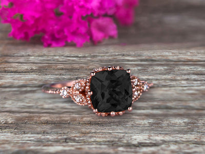 Milgrain Edge Cushion Cut 1.50 Carat Black Diamond Moissanite Engagement Ring On 10k Rose Gold Anniversary Ring Promise Ring Art deco Surprisingly Ring Gift for her