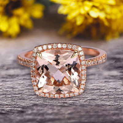 Surprisingly Morganite Engagement Ring 1.75 Carat Cushion Cut Halo Design 10k Rose Gold Anniversary Ring