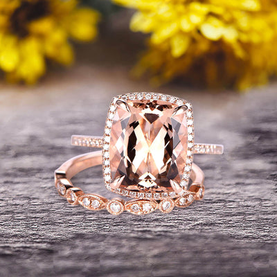 Milgrain 1.75 Carat Wedding Ring Set Big Cushion Cut Morganite Engagement Ring Natural Morganite Art Deco Matching Wedding Band On 14K Rose Gold Surprisingly Ring