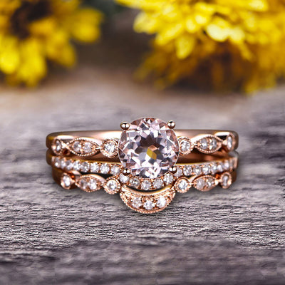 Trio Set Round Cut 1.75 Carat VS Natural Pink Morganite Engagement Ring Set Milgrain Crown Wedding Band 10k Rose Gold Art Deco