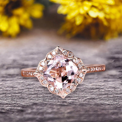 Surprisingly Cushion Cut 1.50 Carat Morganite Engagement Ring On 10k Rose Gold Unique Look Glaring Staggering Ring
