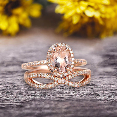 1.75 Carat Oval Cut Morganite Engagement Ring Set On 10k Rose Gold Promise Ring Custom Made Glaring Jewelry Art Deco