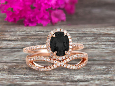 1.75 Carat Oval Cut Black Diamond Moissanite Engagement Ring Set On 10k Rose Gold Promise Ring Custom Made Glaring Jewelry Art Deco