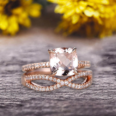 2 Pcs 10k Rose Gold 1.75 Carat Cushion Cut Morganite Engagement Ring Set Solid 10k rose gold Bridal set Custom Made Flaming Jewelry Twisted Across Matching Band