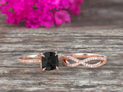 3 Pcs 10k Rose Gold 1.75 Carat Cushion Cut Black Diamond Moissanite Engagement Ring Set Solid 10k rose gold Bridal set Custom Made Flaming Jewelry Twisted Across Matching Band