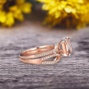4 Pcs 10k Rose Gold 1.75 Carat Cushion Cut Morganite Engagement Ring Set Solid 10k rose gold Bridal set Custom Made Flaming Jewelry Twisted Across Matching Band