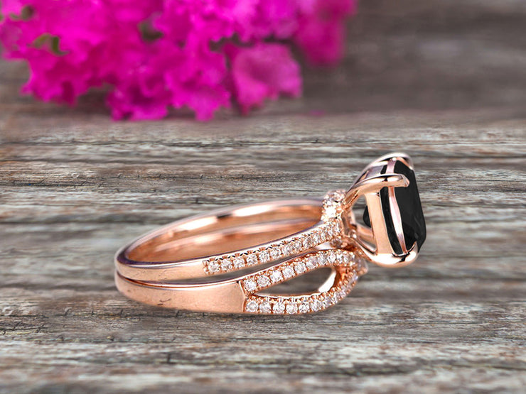 4 Pcs 10k Rose Gold 1.75 Carat Cushion Cut Black Diamond Moissanite Engagement Ring Set Solid 10k rose gold Bridal set Custom Made Flaming Jewelry Twisted Across Matching Band