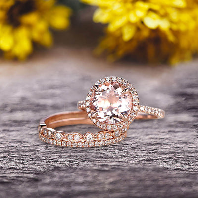 Milgrain Art Deco 2 Carat Round Cut Pink Morganite Engagement Ring 10k Rose Gold With Halo Design Stacking Matching Band Gift For Anniversary