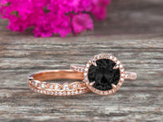 Milgrain Art Deco 2 Carat Round Cut Pink Black Diamond Moissanite Engagement Ring 10k Rose Gold With Halo Design Stacking Matching Band Gift For Anniversary