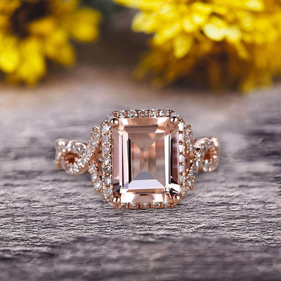 1.50 Carat Emerald Cut Pink Morganite Engagement Ring 10k Rose Gold Promise Ring for Bride or Anniversary Gift Startling Jewelry Twisted Across Design Halo Art Deco