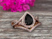 2 Carat Pear Shape Natural Pink Black Diamond Moissanite Ring Set On 10k Rose Gold Halo Bridal Ring Promise Ring Twisted Across Design Halo Milgrain Art Deco