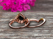 3 Carat Pear Shape Natural Pink Black Diamond Moissanite Ring Set On 10k Rose Gold Halo Bridal Ring Promise Ring Twisted Across Design Halo Milgrain Art Deco