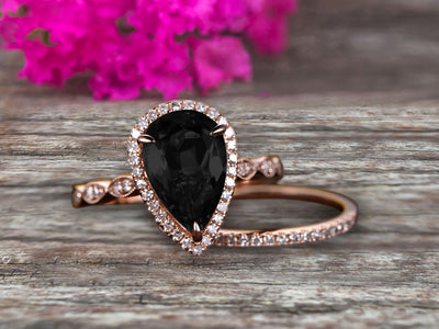 1.75 Carat 10k Rose Gold Pear Shape Natural Black Diamond Moissanite Engagement Ring Set Marquise Band Milgrain Art Deco With HALO Ring