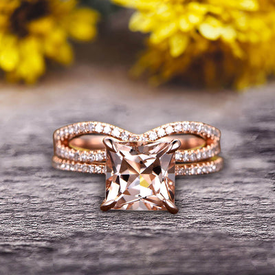 1.75 Carat VS Natural Morganite Wedding Ring Set Princess Cut 10k Rose Gold Engagement Ring Bridal Ring Loop Infinity Stacking Matching Band Staggering Shining Vintage Look