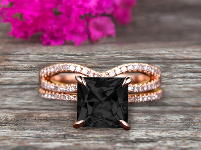 1.75 Carat VS Natural Black Diamond Moissanite Wedding Ring Set Princess Cut 10k Rose Gold Engagement Ring Bridal Ring Loop Infinity Stacking Matching Band Staggering Shining Vintage Look