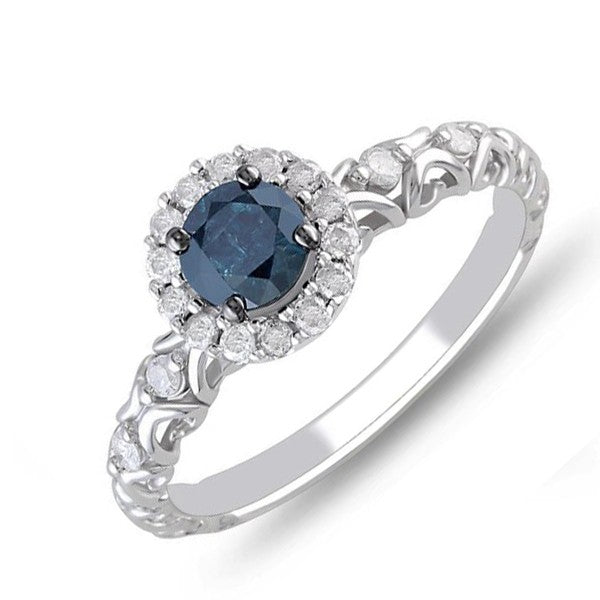 Precious Sapphire and Moissanite Diamond Cheap Engagement Ring 0.75 Carat Moissanite Diamond on Gold
