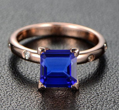 1.10 Carat Blue Sapphire and Moissanite Diamond Engagement Ring in 10k Rose Gold for Women on Sale