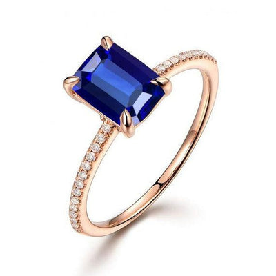 1.25 ct Blue Sapphire Engagement Ring in 10k Rose Gold for Women