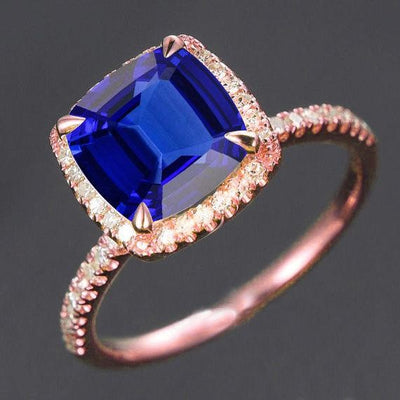1.25 ct Blue Sapphire and Moissanite Diamond Engagement Ring in 10k Rose Gold