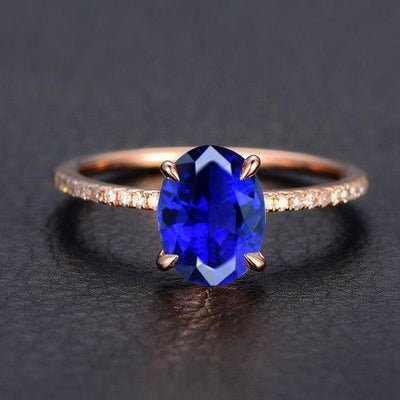 1.25 Carat Blue Sapphire Engagement Ring in 10k Rose Gold for Women on Sale
