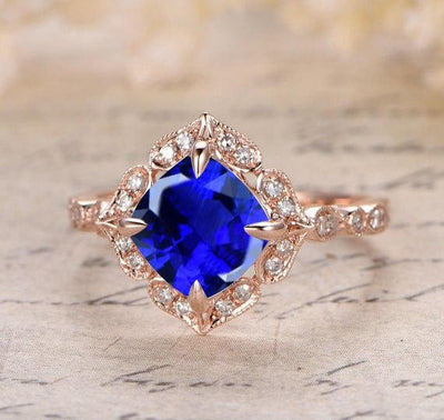 Handmade 1.25 Carat Blue Sapphire and Moissanite Diamond Engagement Ring in 10k Rose Gold for Women on Sale