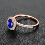 1.25 Carat Blue Sapphire and Moissanite Diamond Engagement Ring in 10k Rose Gold for Women on Sale