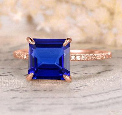 Perfect 1.25 ct Blue Sapphire and Moissanite Diamond Engagement Ring in 10k Rose Gold