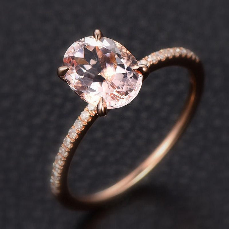Limited Time Sale 1.25 carat Morganite and Diamond Engagement Ring in 10k Rose Gold for Women