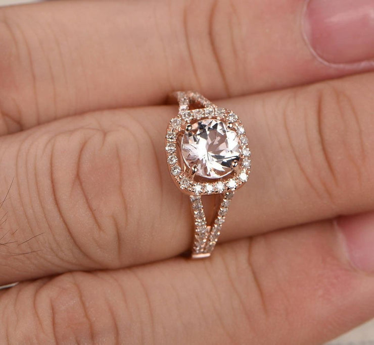 Sale 1.25 carat Halo Morgnaite Engagement Ring with Diamonds for Women