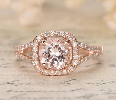 Sale 1.25 carat Halo Morgnaite Engagement Ring with Diamonds in 10k Rose Gold for Women