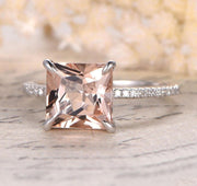 Sale 1.25 Carat Peach Pink Morganite (princess cut Morganite) and Diamond Engagement Ring