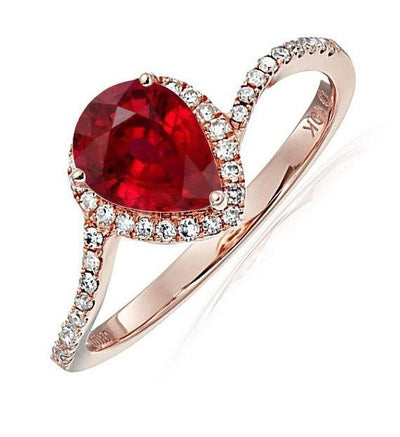 Limited Time Sale:1.25 Carat Red Pear cut Ruby and Halo Moissanite Diamond Engagement Ring in 10k Rose Gold for Women on Sale