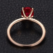 1.25 Carat Red Ruby and Moissanite Diamond Engagement Ring in 10k Rose Gold for her