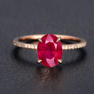 1.25 ct Red Ruby and Moissanite Diamond Engagement Ring in 10k Rose Gold for Women on Sale