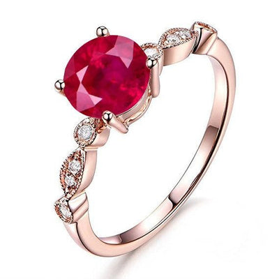 1.25 ct Red Ruby and Moissanite Diamond Engagement Ring in 10k Rose Gold for her
